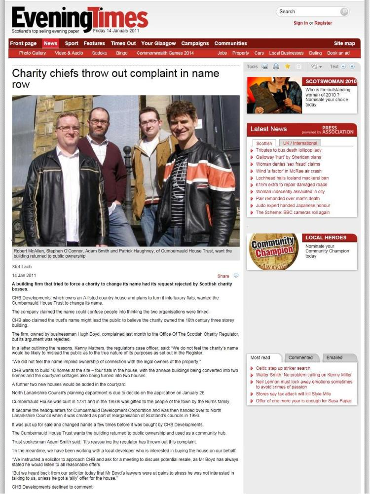 Evening Times Article 14/01/2011